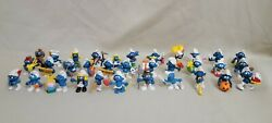 Lot Of 33 Vintage Smurfs Peyo Schleich 1970and039s 1980and039s Collectible Figures Rare