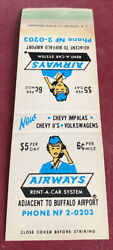 Matchbook Cover Airways Rent A Car System Buffalo