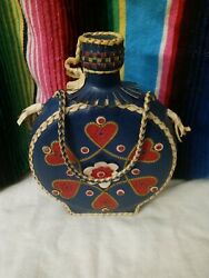 Vintage Folk Art Leather Covered Glass Flask Bottle Canteen -white/red/blue/gold