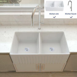 Deervalley 33 Double Bowl Apron Farmhouse Kitchen Sink With Pull Down Faucet