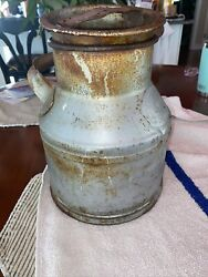 Great Antique Dairy Cream Can Milk Jug With Side Gsw Handle Jt Joubert Montreal