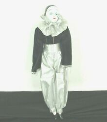 Antique Collectible Hand Painted Pierrot Harlequin Doll Porcelain Head Arms Legs