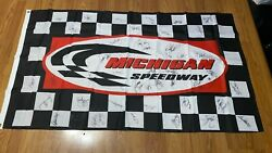 Autographed Dale Earnhardt Sr Michigan Speedway 60 X 35 Checkered Flag + More