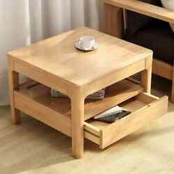 Farmhouse Wood End Table With Storage Modern Side Table Bedside Table And Drawer