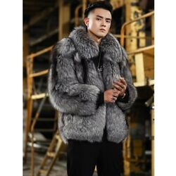 New Mens Real Silver Fox Fur Jackets With Lapel Winter Thick Casual Coat Outwear