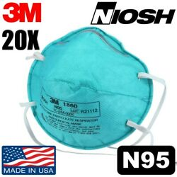 20 Pack 3m 1860 N95 Niosh Healthcare Particulate Respirator And Surgical Face Mask