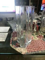 Clear Art Glass Vase Nouveau Style Unknown Maker Made In Poland 9x5.5x4