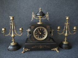 Antique Table Clock Watches Black Marble And Bronze 1828 Year