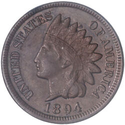 1894 Indian Head Cent About Uncirculated Penny Au See Pics J312