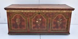 Pine Trunk Or Blanket Chest In Original Decorative Paint Dated 1848.