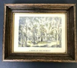Currier And Ives A Home In The Country Lithograph Fanny Palmer Framed 8 X 6.5