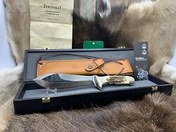 2015 Rudemann 40 Knife With Stag Handles And Coa Mint In Presentation Box P14