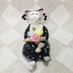 Amy Lacombe Cat Black White Polka Dots quot;Flowers for Mequot; Bouquet WhimsiClay 2001