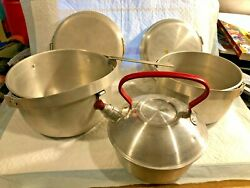 Vintage German Made Aluminum Cook Set 2 Pots With Lids And Handle Camping Pot