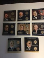 Coins Of America 8 Presidential Dollar 2 Coin Sets In Colorful Info Brochure