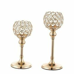 Gold Candlestick Holders Crystal Candle Stand Set of 2 Candle Crystal Gold