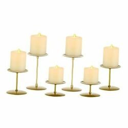 Pillar Candle Holders Candle Plates Candelabra Candle Stand Set of 6 Gold