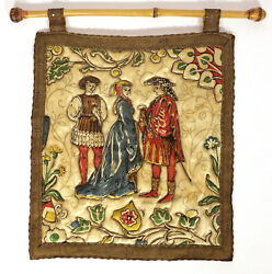 Vintage Tapestry with Medieval Court Life Motif with Hanging Rod Small Size