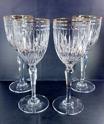 Waterford Marquis Hanover Gold Water Goblets Set X4 Mint