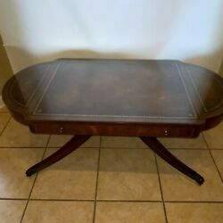 Weiman Georgian Style Tooled Leather Top Coffee Table Antique 1940 Circ Mahogany