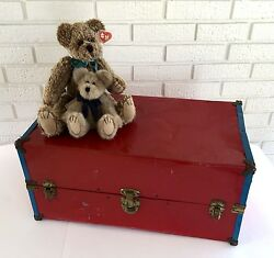 1940and039s Toy Box Trunk Doll Case Metal Wardrobe Storage Red Blue Child Vtg Gift