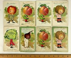 Lot 8 Antique 1907 Tuck E. Curtis Post Cards Garden Patch Signed Divided Gift