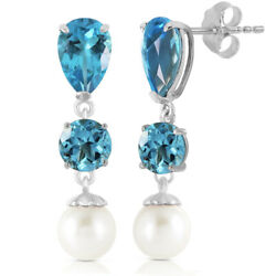 14k White Gold Chandelier Earrings With Blue Topaz And Freshwater-cultured Pearl