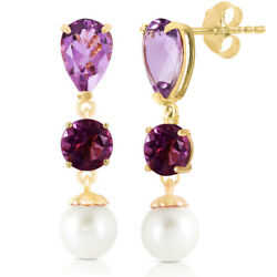 14k Yellow Gold Chandelier Earrings With Amethyst And Freshwater-cultured Pearl