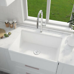 30 Ceramic Farmhouse Apron Kitchen Sink With Pull Down Faucet Combo Single Bowl