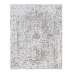 8and039x9and03910 Silver Gray Broken Farsian Design Wool And Silk Hand Knotted Rug G63454