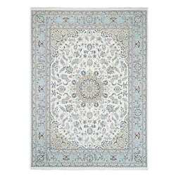 8'8x11'10 Nain 250 Kpsi Wool And Silk Hand Knotted Ivory Oriental Rug G63391