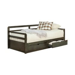 Saltoro Sherpi Two Drawer Wooden Extra Large Twin Size Bed With Trundle Brown