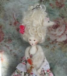 Antique Style Rococo Queen Anne Georgian Hand Carved Wood Doll By Hitty Artist