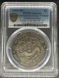1901-08 China Szechuan Dollar Silver Coin Nf 庫 Cn Andforall Lm-345 Pcgs Vf-details