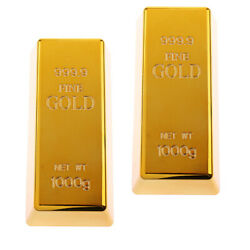 2 Packs Hot Fake Plastic Gold Bar Bullion Paper Weight Prop Table Decoration