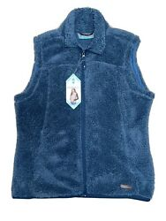 New Free Country Soft Plush Full Zip Vest, Size Large, Agate Blue, Retail 70