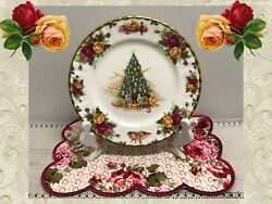 ❤ Rare 1990 Royal Albert Old Country Roses Christmas Magic Lunch Salad Plate ❤