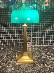 Antique Green Emeralite Desk Bankers Lamp Pat 1916 Executive Office Light 8734