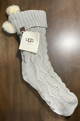 Ugg Home New Cable Knit Grey Christmas Stocking Seal Gray Faux Fur Pom Poms