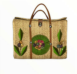 Vintage Mexican Beach Straw Woven Tote Bag With Flowers $25.95