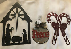 Christmas Lot Metal Wall Art + Peace Ornament Nativity Baby Jesus Candy Cane C-3