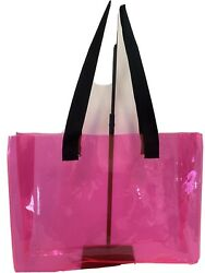 Transparent Clear PVC Tote Bags Beach Bags Shopping Bags Color: Pink $19.99