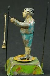Issmayer German Handpainted Tin Wind Up Boy Twirling Ball And Rope