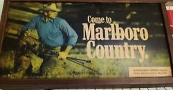 Come To Marlboro Country Light Up Vintage Advertising Clock Tobacco 25x9