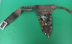 1950and039s Roy Rogers Single Leather Holster With Schmidt 10 Cap Gun