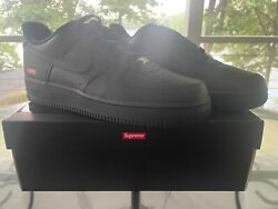 New Nike Air Force 1 Low Supreme Black Mens Sizes 9,10, 10.5,11,12 Fast Ship