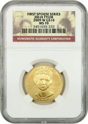 2009-w Julia Tyler 10 Ngc Ms70 - First Spouse .999 Gold
