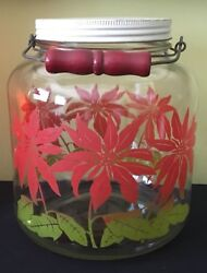 Antique Large Glass Red Christmas Poinsettia Wire Bale Wood Handle 1g Jar Bottle