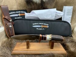 Randall Model Copper Companion Knife With Stag Handles And Leather Sheath Mint ++