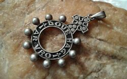 Antique French Breton Marked Silver Catholic Ring Rosary Pendant God And Country